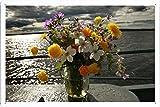 Flower Tin Sign #13076 Spring Bouquet In Mason Jar by Waller's Decor (7.8