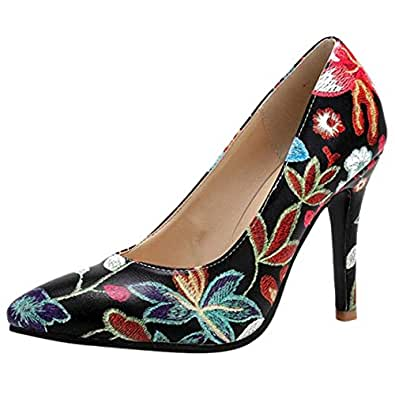 JOJONUNU Women Fashion Stiletto Floral Pumps Shoes Slip On Black-10 cm Size 33 Asian
