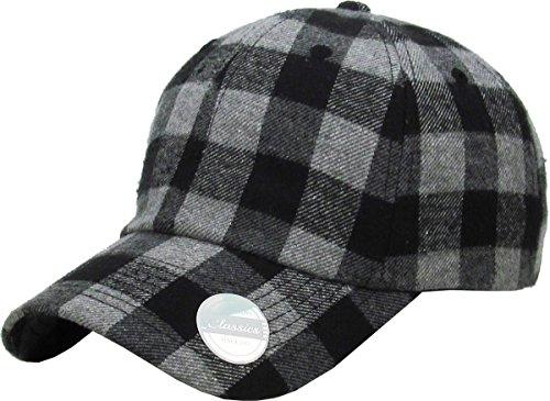 - KBE-Plaid DGY-BLK 6 Panel Buffalo Plaid Dad Hat Baseball Classic Adjustable Soft Plain Cap
