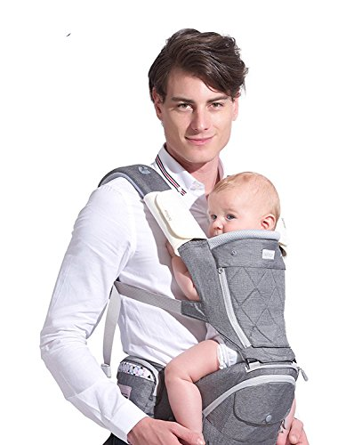 Bebamour Best New Style Baby Ergonomic Carrier Sling Soft Hip Seat Hood Perfect for Infant & Toddler (Grey)