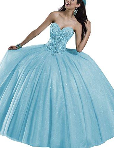 Cielo Las Quincea Azul Lentejuelas Vestido era Baile Tul De Amor Del Huini Cristal Bola Vestidos nYvwqOAO