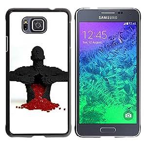 QCASE / Samsung GALAXY ALPHA G850 / cuore gioco di puzzle amore spezzato uomo rosso anatomia / Delgado Negro Plástico caso cubierta Shell Armor Funda Case Cover