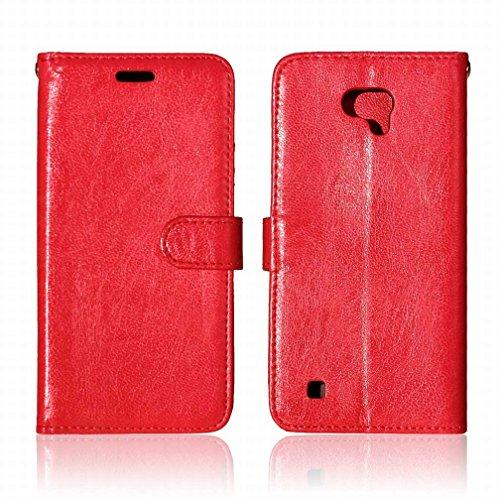 Yiizy LG X cam K580 Funda, Bastidor Diseño Solapa Flip Billetera Carcasa Tapa Estuches Premium PU Cuero Cover Cáscara Bumper Protector Slim Piel Shell Case Stand Ranura para Tarjetas Estilo (Rojo)