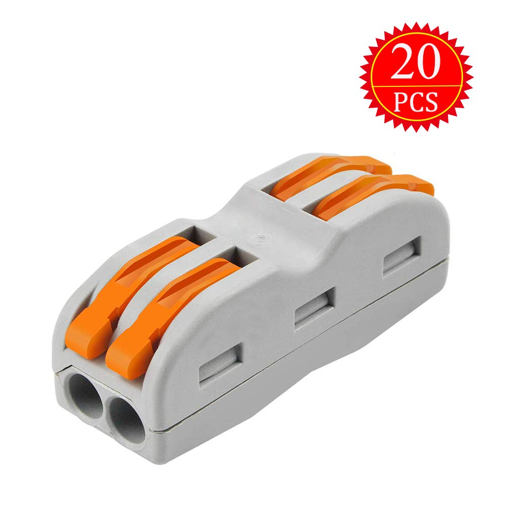 Kalolary Lever-Nut Wire Connectors-20 Pcs SPL-2 Compact Wire Wiring Connector Conductor Terminal Block for Junction Box Assortmention Box Assortment