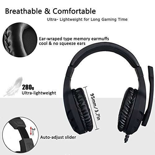 NUBWO Gaming Headset Xbox One PS4 Headset PC Mic, Comfort Earmuff, Lightweight, Easy Volume Control for Xbox 1 S/X Playstation 4 Computer Laptop(Black) (Black) by NUBWO (Image #3)