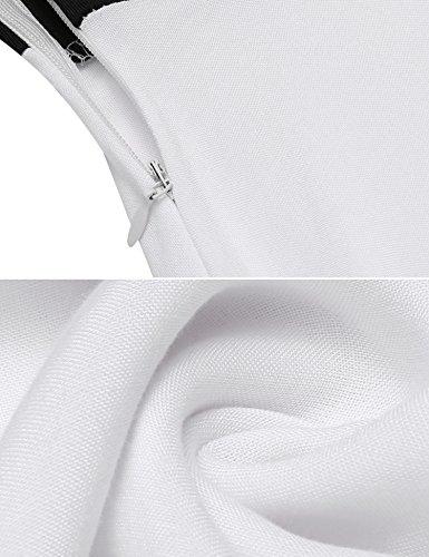 ... ACEVOG Damen Elegant Patchwork Business Kleid Cocktailkleid Etuikleid 2  in 1 Festlich Kurzarm Strickkleid Abendkleid Weiß 2c517798fc