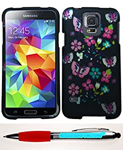 Accessory Factory(TM) Bundle (the item, 2in1 Stylus Point Pen) Samsung Galaxy S 5 Flower Butterfly Case Cover Protector