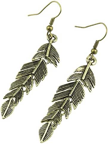 GLucky : Retro Bronze Hook Dangle Carved Feather Design Ladies Party Earrings Jewellery