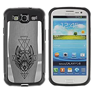 SHIMIN CAO@ Wolf Polygon Tattoo Ink Skin Freedom Rugged Hybrid Armor Slim Protection Case Cover Shell For S3 Case ,I9300 Case Cover ,I9308 case ,Leather for S3 ,S3 Leather Cover Case