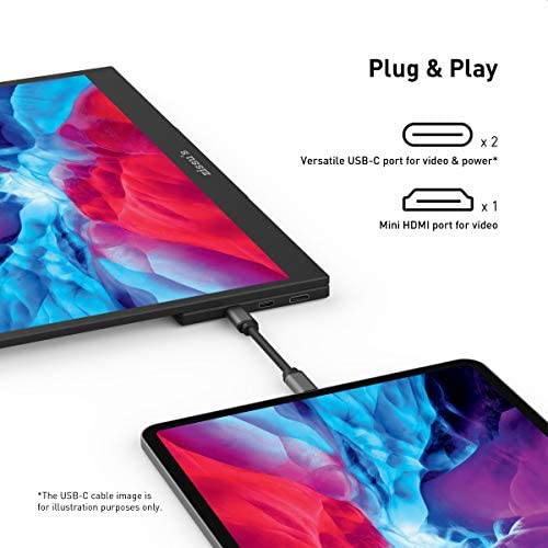 15.6″ Portable Monitor, Zissu's Laptop Dual USB C Monitor, Ultra-Slim Full HD 1080P HDR IPS Screen Gaming Monitor, Eye Care 178° Full View Computer Display, Mini HDMI for Laptop PC Switch PS4 Xbox 51pN1KvSsNL