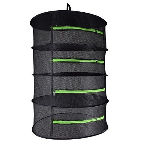 Yichang Herb Drying Rack Hanging Dry Net Durable Mesh Collapsible Hanging Dryer with Zipper Net Lights Carrying Case Indoor & Outdoor (4 Layer)