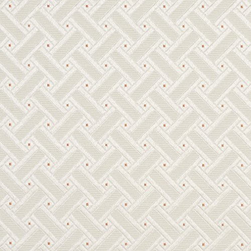 D131 Silver White And Mahogany Red Lattice Brocade Upholstery Fabric By The Yard