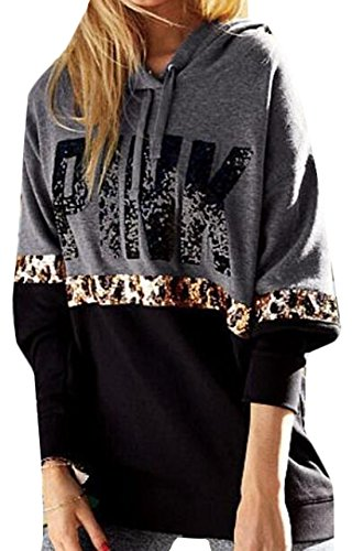 HANA+DORA Womens Long Sleeve Printed Hooded Sweater Black XL