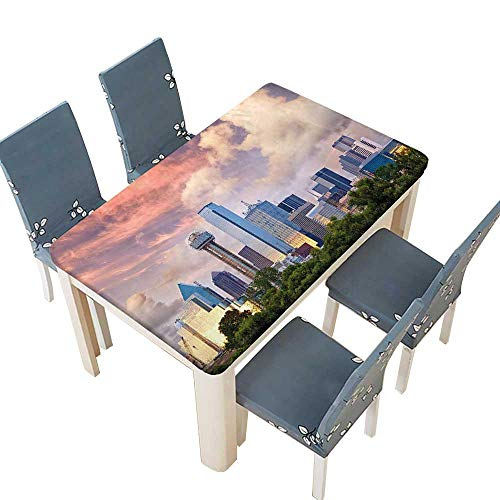 PINAFORE Table in Washable Polyeste Dallas City Skyline at Clouds Texas Highrise Skyscrapers Landmark Banquet Wedding Party Restaurant Tablecloth W41 x L80.5 INCH (Elastic Edge)