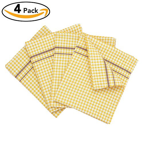 VEEYOO Dish Towels 18 x 28 Inch 100% Cotton, Set of 4 Oversized Kitchen Dish Tea Towels, Plaids Pattern in Yellow with Chocolate Stripes