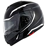 1Storm Motorcycle Street Bike Modular/Flip up Dual Visor/Sun Shield Full Face Helmet Storm Tron White