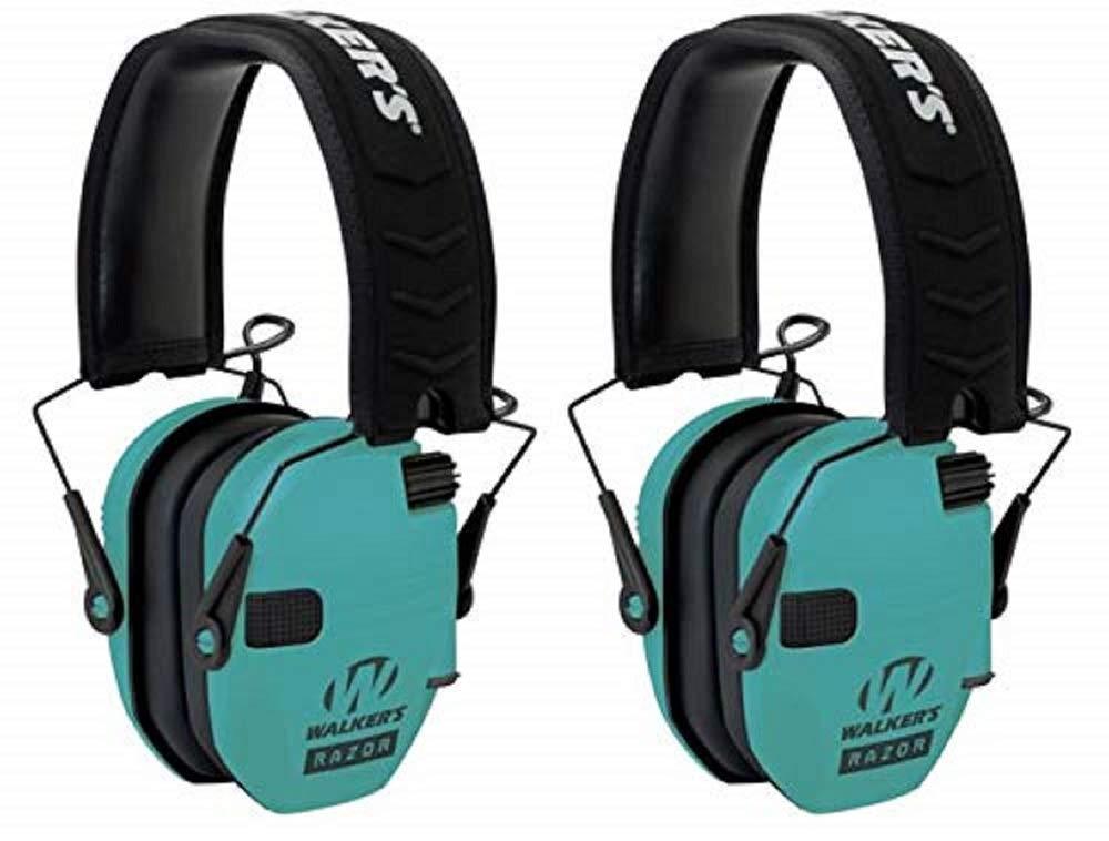 Walkers GWPRSEMLTL Razor Slim Electronic Earmuff 23 dB Light Teal - 2 Pack by Walker's Game Ear