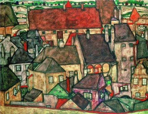 Oil Painting 'Egon Schiele,Yellow City,1914', 16 x 21 inch / 41 x 53 cm , on High Definition HD canvas prints is for Gifts And Basement, Living Room And Nursery Decoration, pictures
