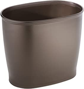 iDesign Kent Oval Waste Can, Trash Can for Bathroom, Bedroom, Office - Bronze