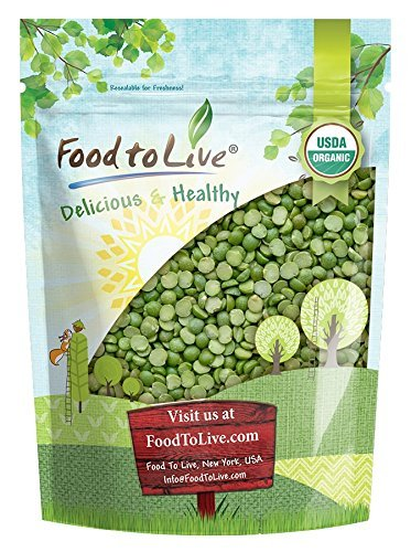 Organic Green Split Peas, 3 Pounds - Non-GMO, Kosher, Raw, Dried, Great for Pea Soup, High in Protein and Fiber, Bulk, Product of Canada