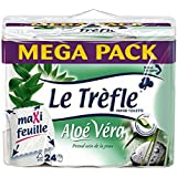 LeTrefle Papier Toilette Maxi Feuilles Parfumé Aloé Véra 24 Rouleaux