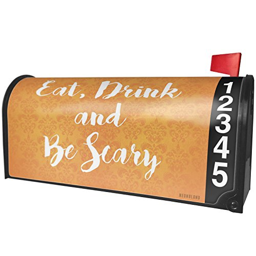 NEONBLOND Eat, Drink Be Scary Halloween Orange Wallpaper Magnetic Mailbox Cover Custom Numbers