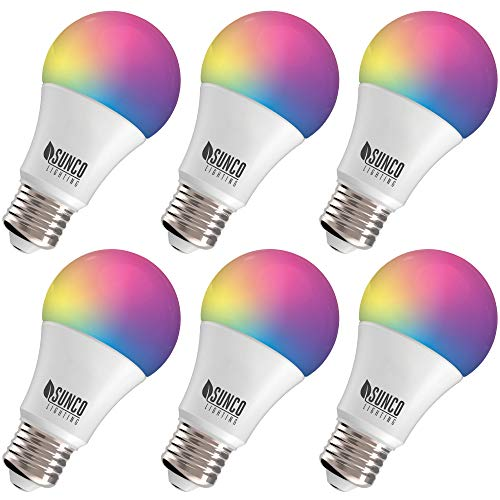 Sunco Lighting 6 Pack WiFi LED Smart Bulb, A19, 6W, Color Changing (RGB & CCT), Dimmable, 480 LM, Compatible with Amazon Alexa & Google Assistant – No Hub Required
