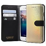 iPhone 6S Case, HANSMARE [Calf Flip Hologram][Gold] Leather Premium Wallet Case- fit by Credit Card Case for iPhone 6/6S 4.7-Gold Hologram