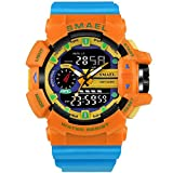 IBANSE Men's Military Sport Digital Waterproof Watch Dual Electronic Quartz Movement Green Band with Back Light (blue orange upgrade)