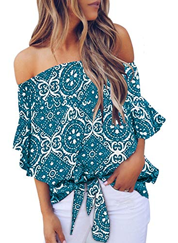 (Asvivid Womens Casual Off The Shoulder Ethnic Floral Printed Bell Sleeve Chiffon Knot Blouses Loose Tunic Shirt S Blue)