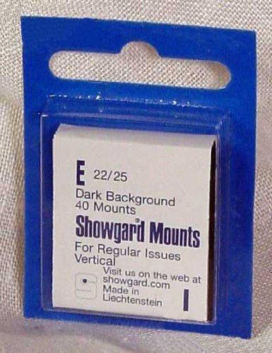 Showgard Pre-Cut Black Stamp Mounts Size E22/25 (Cut Mounts Pre)