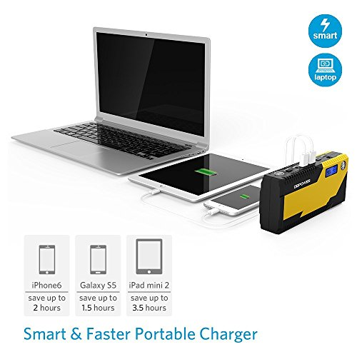 DBPOWER 500A Peak 12000mAh Portable Car Jump Starter Auto Battery Booster, Portable Phone Charger with Smart Charging Port, Compass & LCD Screen and LED Flashlight, for Engines up to 3L Gas and 2.5L D by DBPOWER (Image #2)