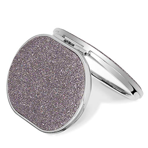 Purse Style Compact Mirror - LAORENTOU Compact Mirror, 2 Sides, 1x and 2x Magnification, 180 Degree Opening and Closing, Colorful Glitters Cover, Travel Makeup Mirror, Oval Mini Handheld Pocket Mirrors for Purse, Bag(Purple)