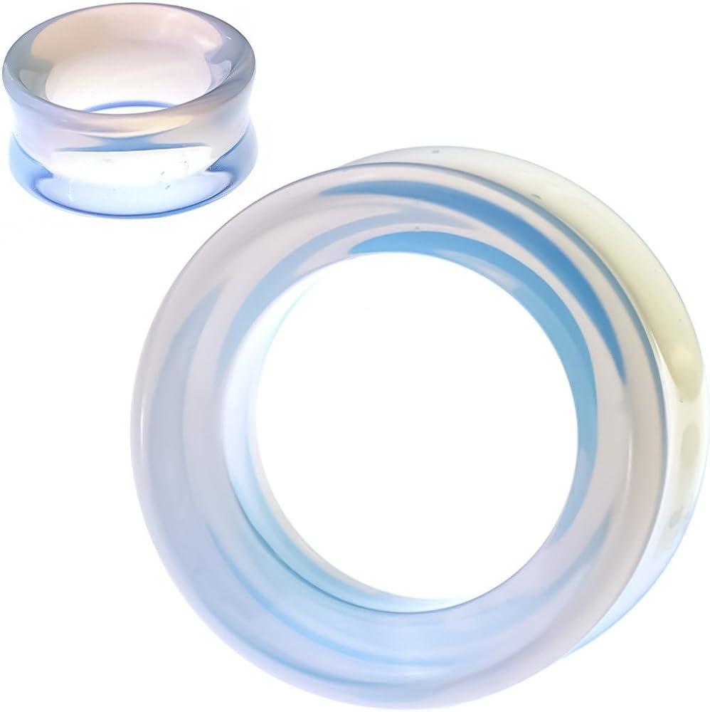 soscene Hollow Tunnels Opalite Organic Stone Ear Plugs Gauges Sold in Pairs