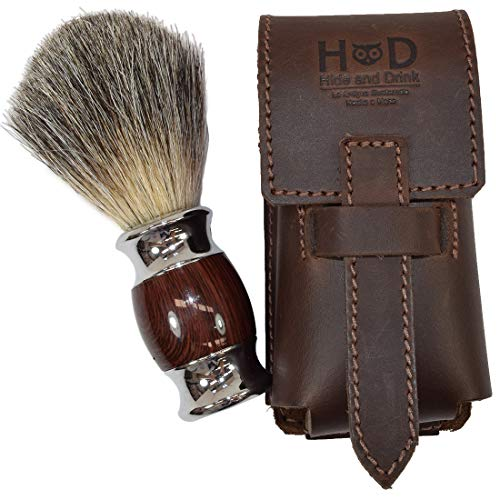 (Thick Leather Shaving Barber Brush Case/Travel Protective Sleeve Handmade by Hide & Drink :: Bourbon Brown)