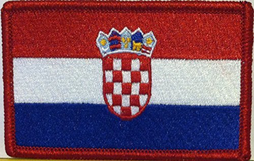 Embroidered Emblems - Croatia Flag Embroidered Patch with Hook & Loop Travel Morale Patriotic Funny MC Biker Shoulder Emblem Red Border #04