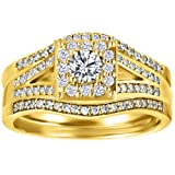 CZ Halo Engagement Ring and Ring Guard Set made in Yellow Plated Sterling Silver (2 Pieces) (0.77ct. twt. Cubic Zirconia)