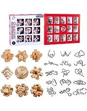 Spieland 24 st. Pussel-set: 15 metallpusselspel 9 träpusselspel gåtor brainteaser tålamodsspel logiska spel adventskalender innehåll för barn och vuxna