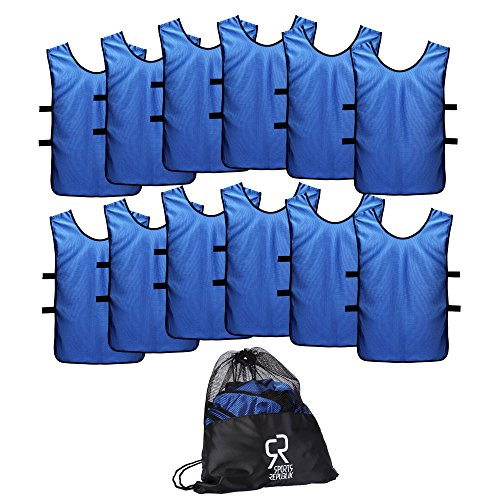 Sports Jersey Pinnies for Kids, Youth and Adults (12-Pack) | Perfect as Basketball Practice Jersey, Football Jersey or Pennies for Soccer | Last Longer and Look Cooler | Scrimmage Vests - Blue Vest Cooler