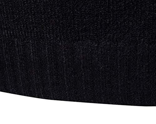 Flairstar Maglione Casual Tinta Nero Vestibilità Alto Collo Unita Slim Lunghe Maniche A Top Uomo Pullover gx7wqrIFg