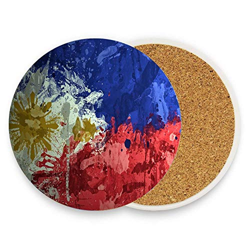 Philippines Paint Background Texture Spot Coaster for Drinks - Tabletop Protection Prevents Furniture Damage - Absorbing Stone Drink Coaster With Cork Base Pack Of 1 (Land And Water Forms In The Philippines)