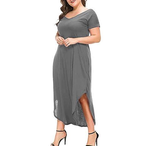 Amazon.com: Women Plus Size V-Neck Maxi Dress Clearance Sale ...