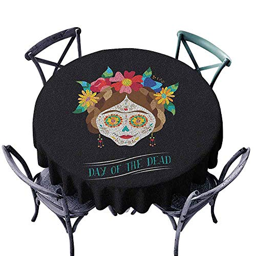 duommhome Day of The Dead Washable Table Cloth Hispanic Holiday La Calavera de la Catrina Inspired Hairstyle and Make Up Great for Buffet Table Multicolor