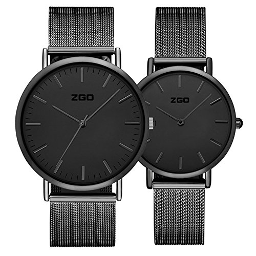 Men's and women's Commercial quartz watches,30m waterproof Stainless steel strap Simple pointers Ultra-thin Couple watch A pair of Leisure-A by FXBNHDFMF