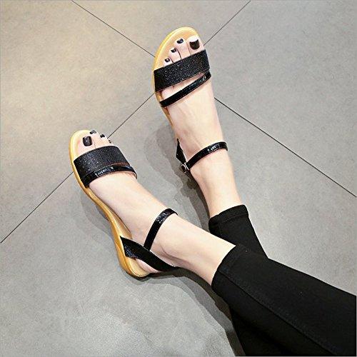 Zapatos Femeninas de PU Dedo del Zapatos Planas la Sandalias Classic Negro Black de Sandalias de Verano de pie Romanas Las Mujeres Cuero cq0c8FPUT