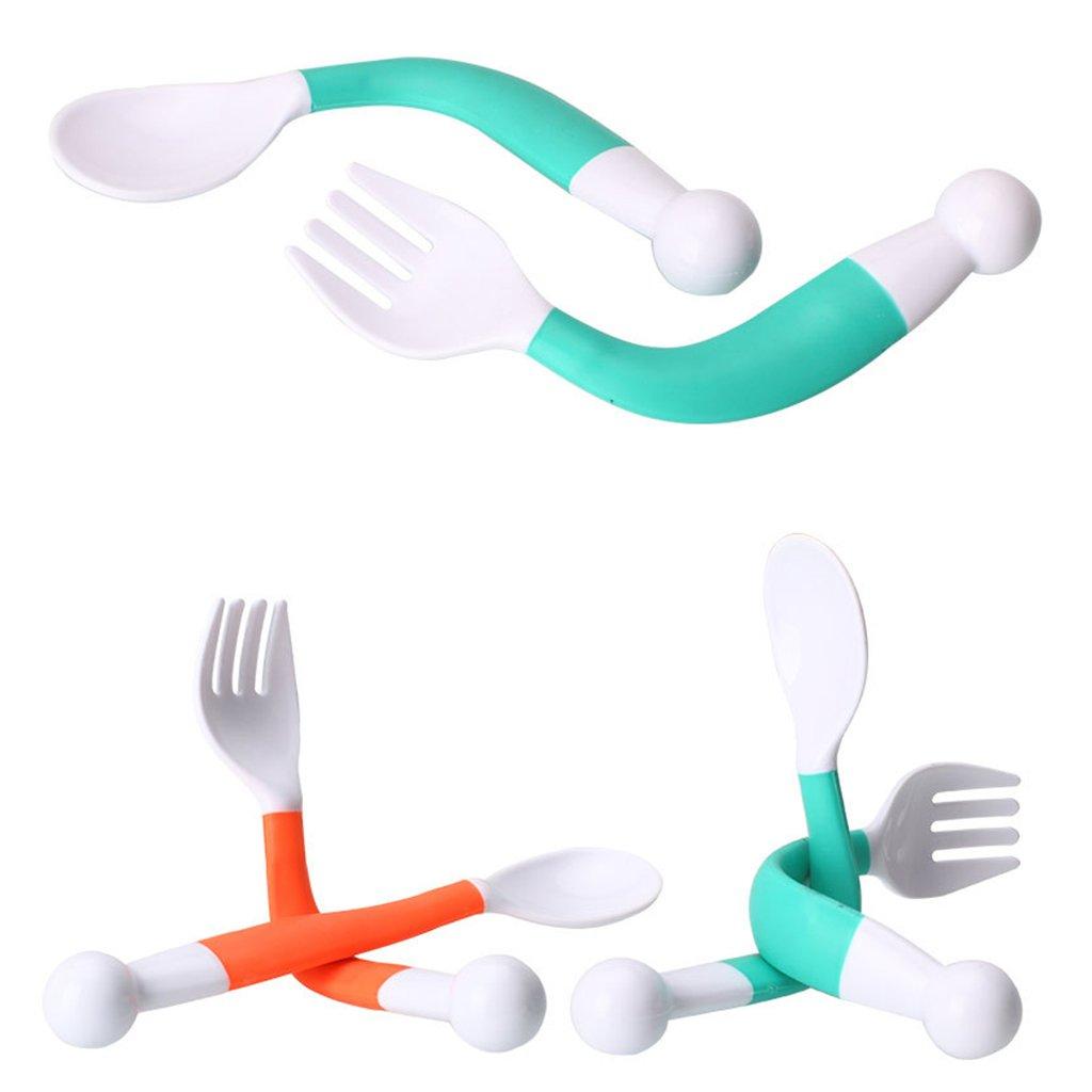 lunji flexible curvas Baby Cuchara Tenedor Set Ajustable Ni/ños Aprender Vajilla Vajilla, 2/unidades naranja naranja