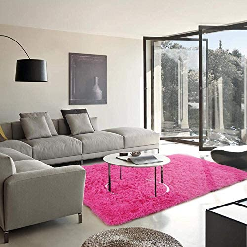 YJ.GWL Soft Shaggy Area Rugs for Bedroom Fluffy Living Room Rugs Anti-Skid Nursery Girls Carpets Kids Home Decor Rugs 3 x 5 Feet Hot-Pink