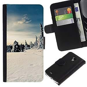 Billetera de Cuero Caso Titular de la tarjeta Carcasa Funda para Samsung Galaxy S4 Mini i9190 MINI VERSION! / Nature Beautiful Forrest Green 175 / STRONG