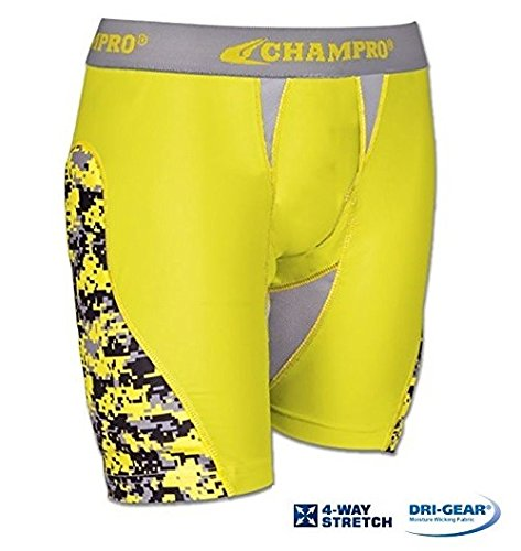 (CHAMPRO Womens Line Drive Sliding Short Yellow L)