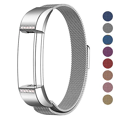 Cut Diamond Wire - SWEES Metal Bands Compatible Fitbit Alta & Fitbit Alta HR, Milanese Stainless Steel Metal with Diamond Dressy Design Replacement Accessories Small for Women, Silver, Rose Pink